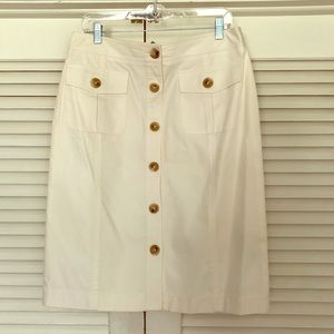 Banana Republic Stretch Button Skirt Cream Size 10